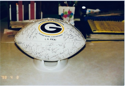 Clear Lake is Green Bay Packer country. An autographed football signed by most 1998 Packer players was highly sought and nearly a thousand lottery tickets were sold at $1.00 each.