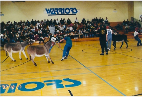 "The first fund raiser in 1997 was a donkey basketball game. Local ""volunteers"" chose teams and tried their best to make the donkeys play ball...they didn't!"